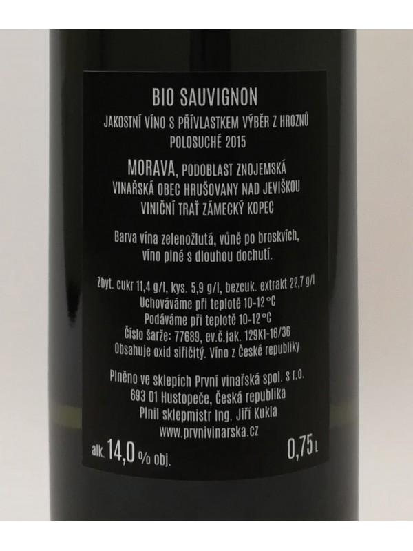Sauvignon BIO 2015, výběr z hroznů