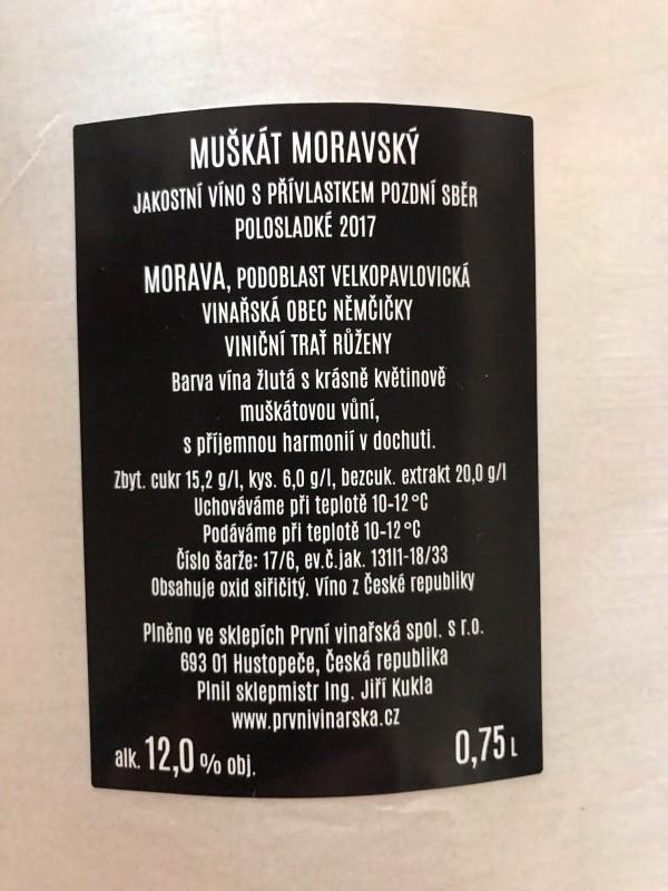 Muškát moravský 2017, pozdní sběr