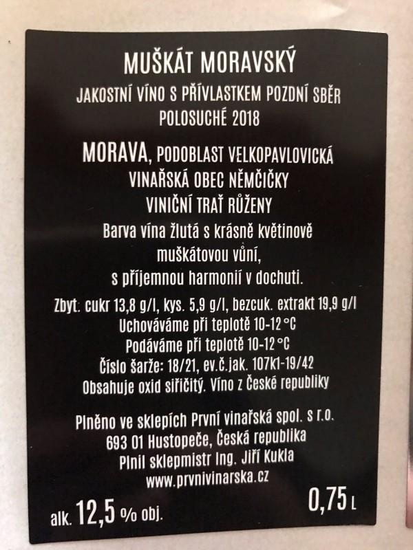 Muškát moravský 2018, pozdní sběr