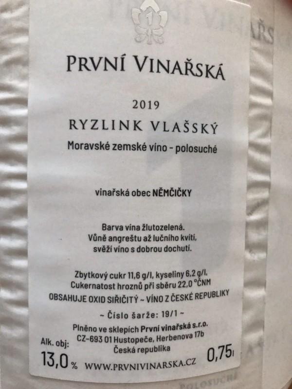 Ryzlink vlašský 2019, moravské zemské víno