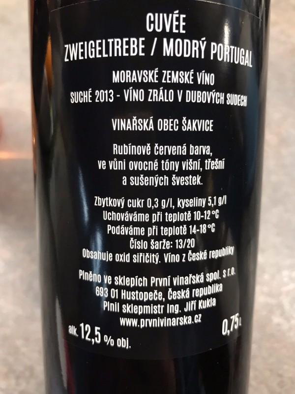 Zweigeltrebe/Portugal Modrý 2013, moravské zemské víno